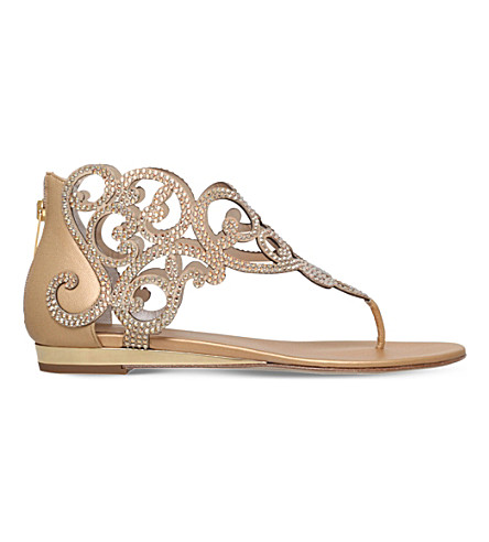 RENE CAOVILLA Moonlight crystal-embellished sandals (Gold