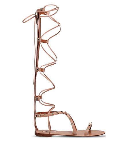 VALENTINO Rockstud leather gladiator sandals (Nude