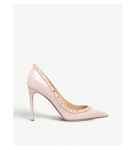 VALENTINO Rockstud 100 patent-leather courts (Nude