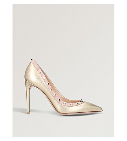 VALENTINO Rockstud 100 metallic-leather courts (Pink+comb