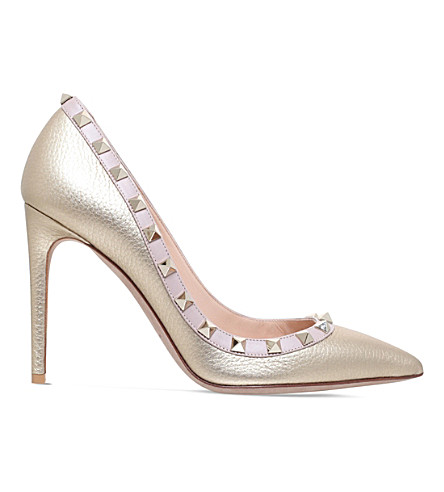 VALENTINO Rockstud 100 metallic-leather courts (Gold