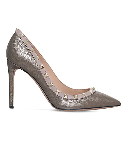 VALENTINO Rockstud 100 leather courts (Pewter
