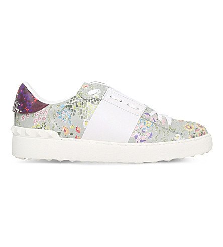 VALENTINO Open floral-print leather trainers (Pale green