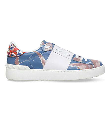 VALENTINO Open leather trainers (Blue/pal.c