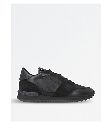 VALENTINO Camo-print leather trainers (Black