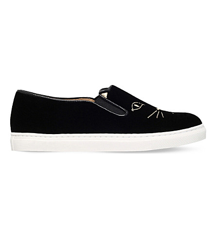 CHARLOTTE OLYMPIA Cool Cats velvet slip-on trainers (Black