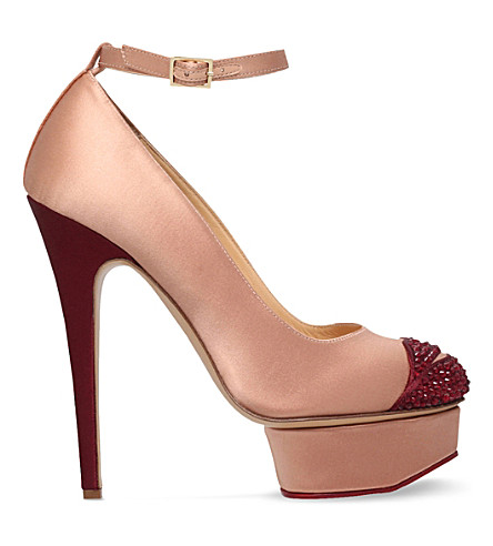 CHARLOTTE OLYMPIA Kiss Me Dolores satin courts (Nude