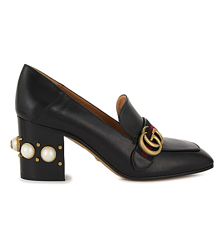 GUCCI Peyton pearl 75 leather mules (Black