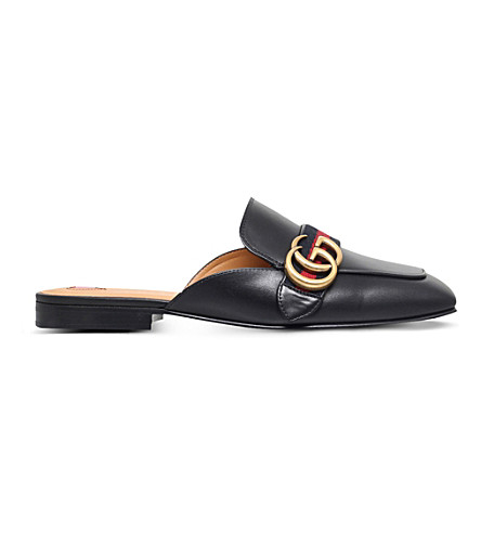 GUCCI Peyton leather sliders (Black