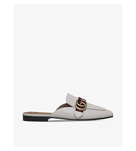 GUCCI Peyton leather backless mules (White