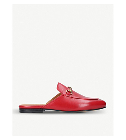 GUCCI Princeton leather slippers (Red