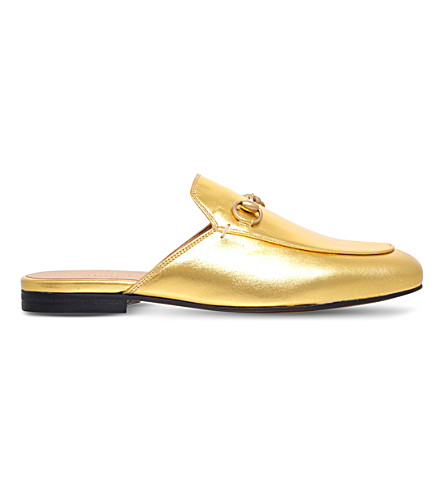 GUCCI Princetown leather slipper (Gold