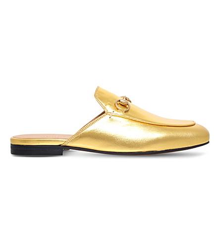 GUCCI Princetown 皮革拖鞋 (金