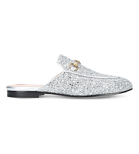 GUCCI Princetown glitter slippers (Silver