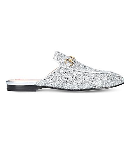 GUCCI Princetown glitter slippers (Silver