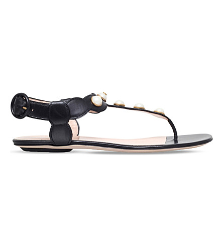 GUCCI Willow leather t-bar sandals (Black