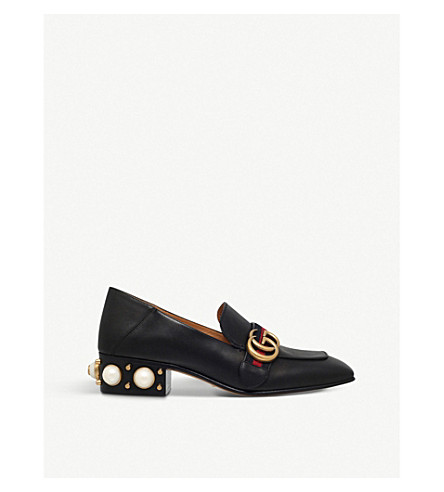 GUCCI Mid-heel leather loafers (Black