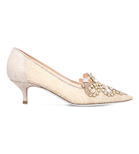 RENE CAOVILLA Crown crystal-embellished courts (Gold