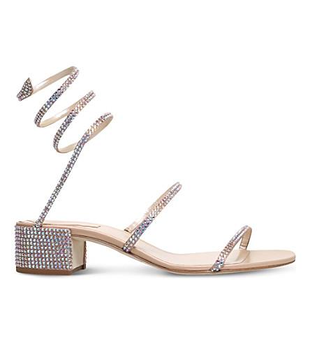 RENE CAOVILLA Twirl Swarovski-embellished silk heeled sandals (Beige