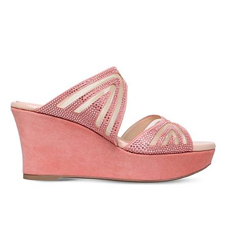 RENE CAOVILLA Swarovski-embellished suede wedge sandals (Peach