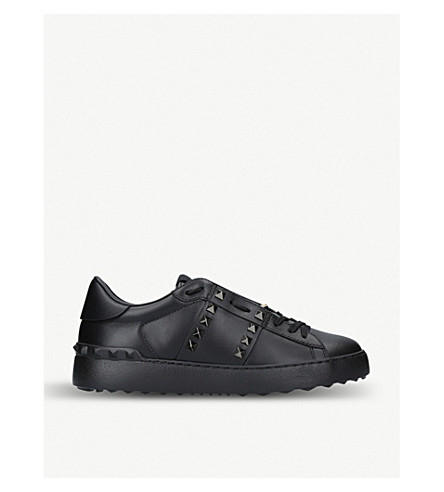 VALENTINO Rockstud leather low-top trainers (Black