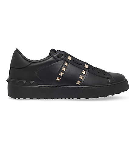 VALENTINO Rockstud leather trainers (Black