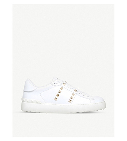 VALENTINO Rockstud leather low-top sneakers (White