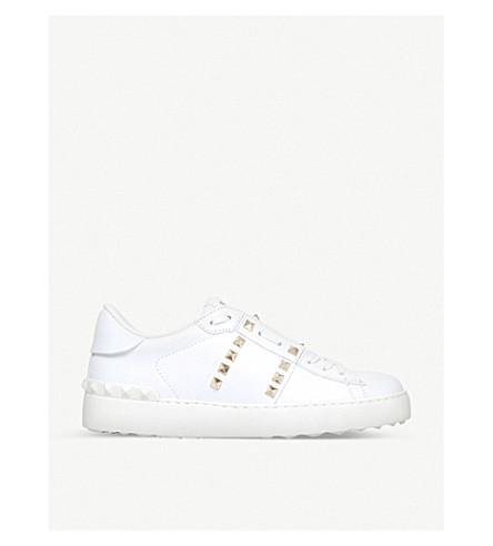 VALENTINO Rockstud 皮革低运动鞋 (白色