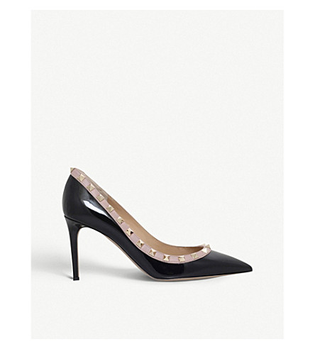 VALENTINO Rockstud 85 patent-leather courts (Black