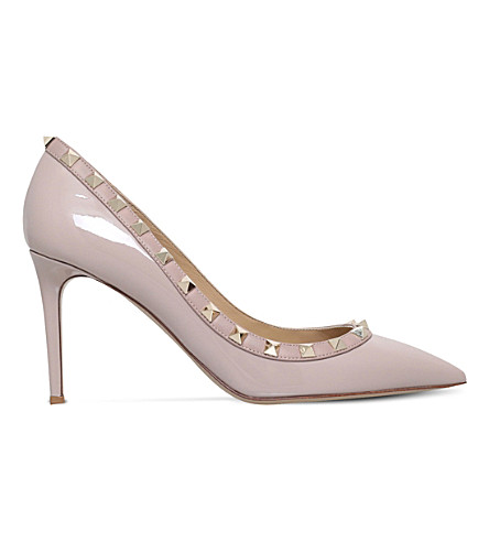 VALENTINO Rockstud 85 patent-leather courts (Nude