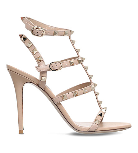 VALENTINO Rockstud 105 leather heeled gladiator sandals (Camel/comb