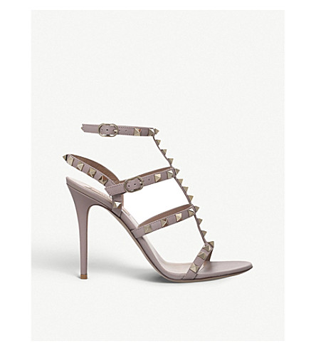VALENTINO Rockstud studded leather sandals (Nude