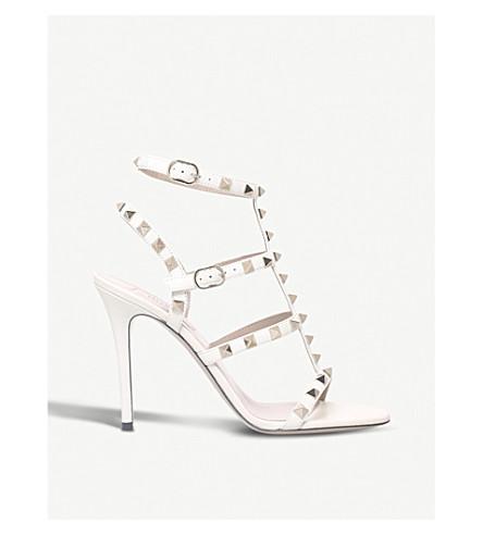 VALENTINO Rockstud 105 leather heeled gladiator sandals (Bone