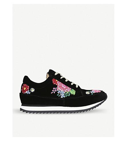 CHARLOTTE OLYMPIA Work It! Rose Garden velvet trainers (Black