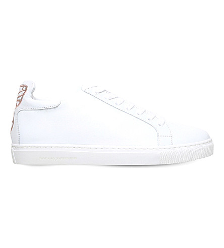 SOPHIA WEBSTER Bibi butterfly-embroidered leather trainers (White
