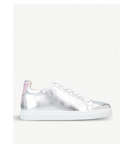 SOPHIA WEBSTER Bibi low-top metallic-leather trainers (Silver+com