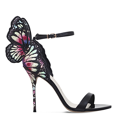 SOPHIA WEBSTER Chiara satin and leather heeled sandals (Blk/other