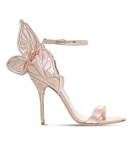 SOPHIA WEBSTER Chiara embroidered metallic-leather sandals (Gold