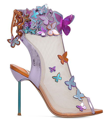 SOPHIA WEBSTER Harmony butterfly leather and mesh booties (Pink