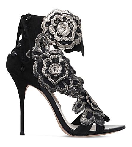 SOPHIA WEBSTER Winona floral-embroidered suede sandals (Black