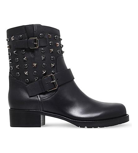 VALENTINO Rockstud Rolling Noir leather biker boots (Black