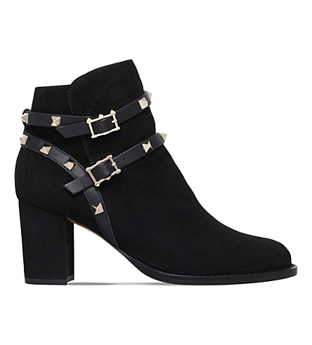 VALENTINO Rockstud 70 suede ankle boots (Black