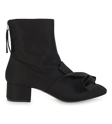 NO 21 Bow satin ankle boots (Black
