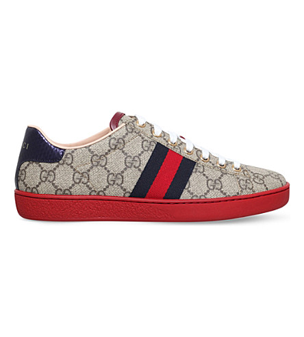 GUCCI New Ace GG canvas trainers (Blk/white