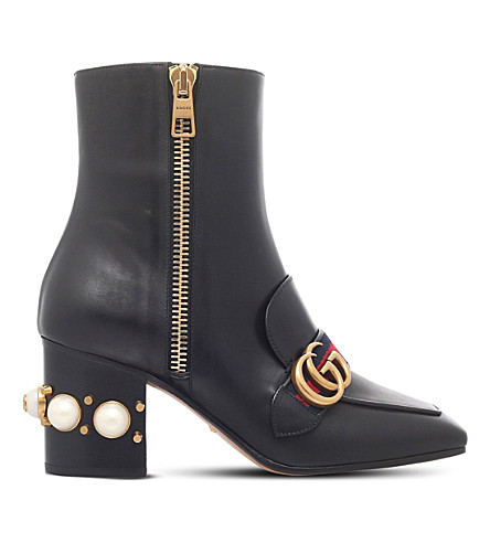 GUCCI Peyton embellished heel leather ankle boots (Black