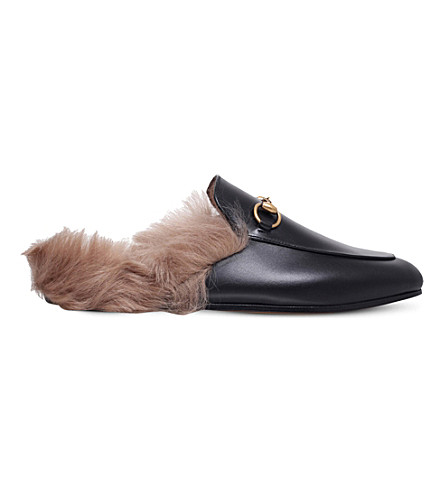 GUCCI Princetown leather slippers (Blk/beige