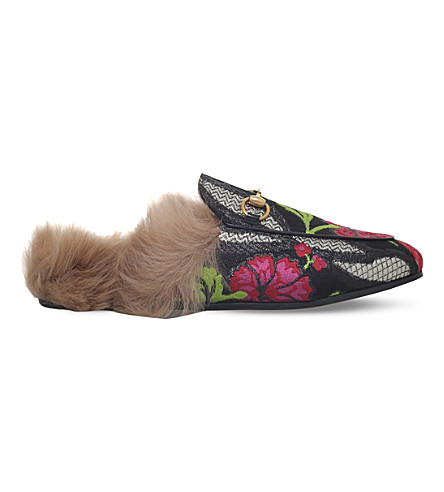 GUCCI Princetown floral brocade wool slipper (Black/comb