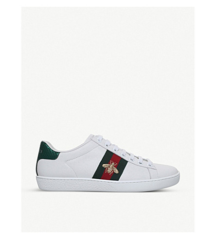GUCCI Ladies New Ace bee-embroidered leather trainers (White/red