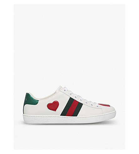 GUCCI New Ace heart-detail leather trainers (White/red