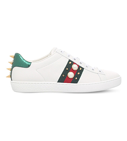 GUCCI New Ace pearl and stud-detail leather trainers (White/red